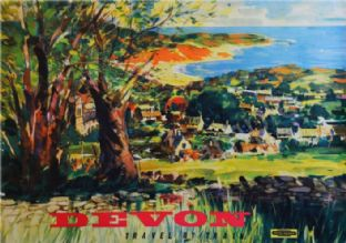 Vintage Train Travel Print of Devon
